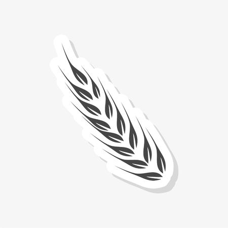Wheat sticker, Wheat ears simple vector icon