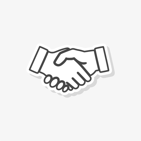 Partnership sticker, Handshake, simple vector icon