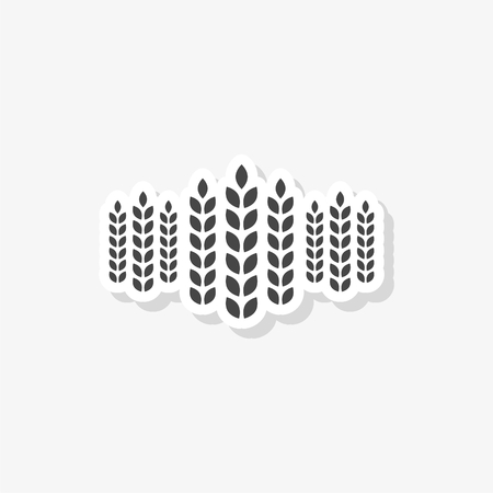 Wheat ears sticker, simple vector icon Illustration