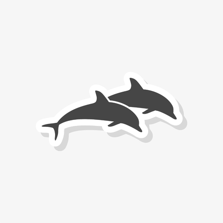 Dolphin fish animal silhouette sticker, Silhouette dolphin, simple vector icon
