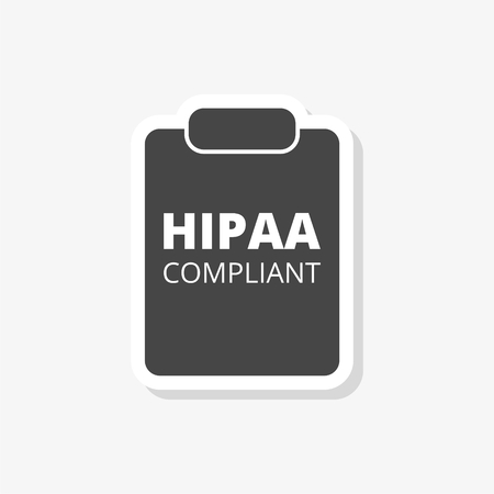 HIPAA Compliance sticker, simple vector icon Illustration