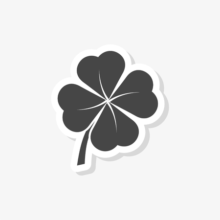 Simple Clover with four leaves sticker, simple vector icon