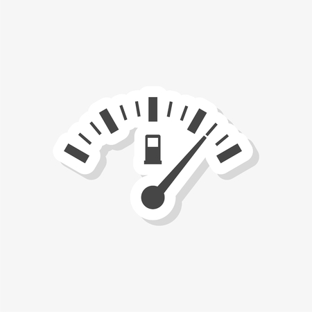 Fuel gauge sticker, Full gas tank, simple vector icon