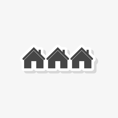 Home sign sticker. Main page button, House icon, simple vector icon