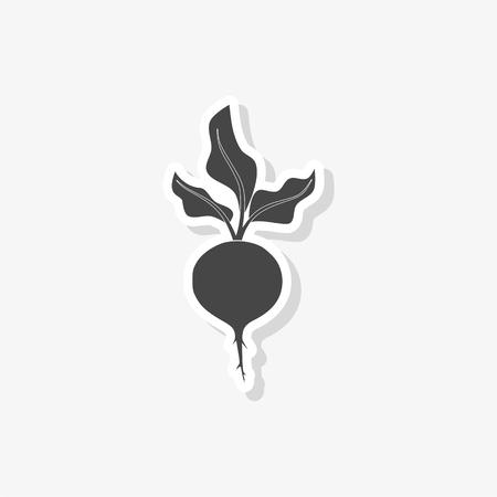 Sugar beet sticker, simple vector icon