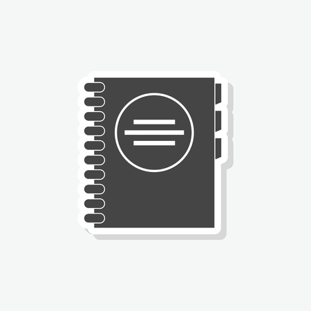 Address book sticker, simple vector icon