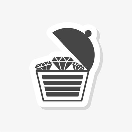 Treasure chest open vector sticker, simple vector icon Vettoriali