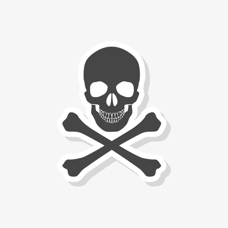 Skull sticker, simple vector icon