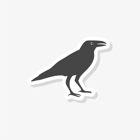 Crow vector illustration design sticker, Crow silhouette, simple vector icon Illustration