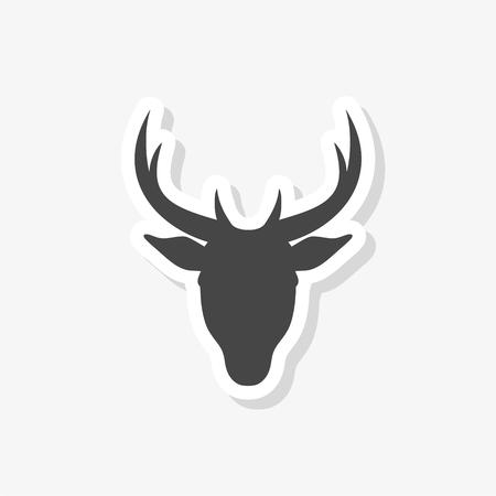 Bull head sticker, simple vector icon