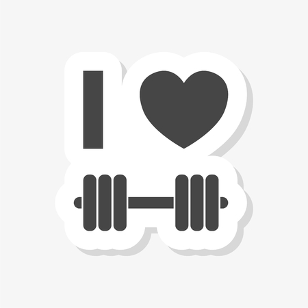 Gym dumbbell flat design, Cross fit sticker, simple vector icon