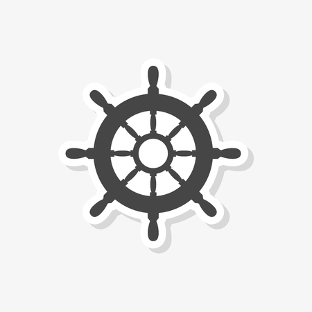 Steering wheel of the ship, Ship wheel sticker, simple vector icon Vettoriali