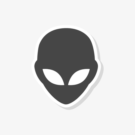 Alien head sticker, Extraterrestrial alien face, simple vector icon