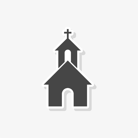 Church sticker, simple vector icon