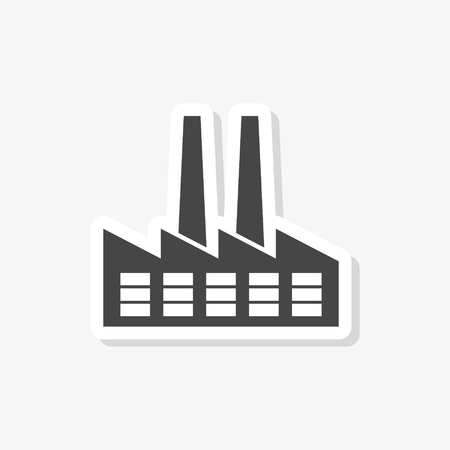 Factory sticker, simple vector icon