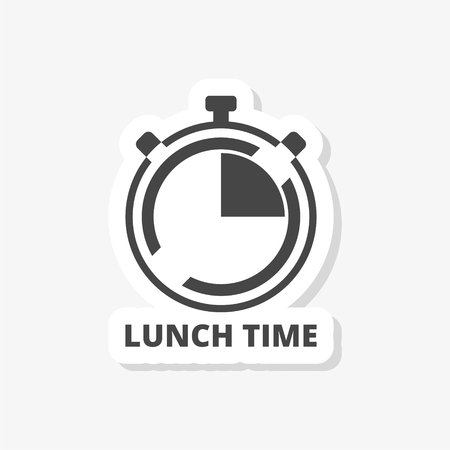 Time For Lunch, Flat Lunch Time sticker, simple vector icon