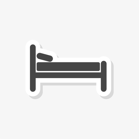 Hospital bed sticker, Hotel sign, simple vector icon