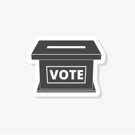 Voting concept sticker, Flat style illustration of election day, simple vector icon Illustration