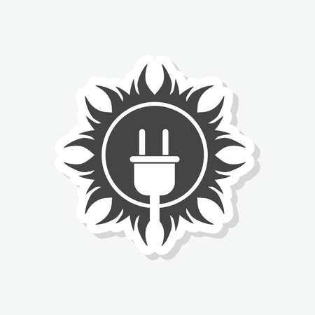 Solar energy design, Power electricity sun sticker, simple vector icon Vectores