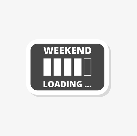 Weekend loading sign sticker, simple vector icon Иллюстрация