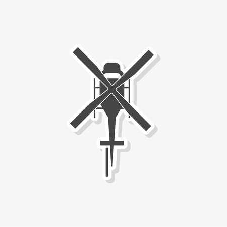 Helicopter sticker, Silhouette of helicopter, simple vector icon 일러스트