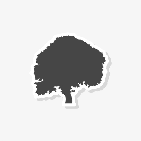 Tree silhouette sticker, simple vector icon Иллюстрация
