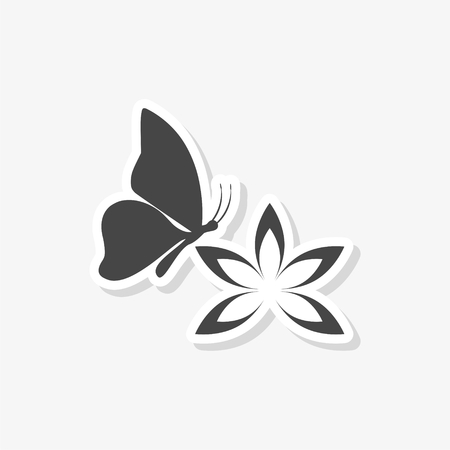 Beautiful lotus flower and Butterfly sticker, simple vector icon