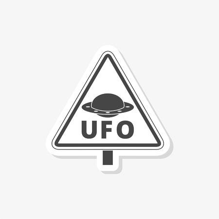 Ufo danger sticker, simple vector icon Vectores