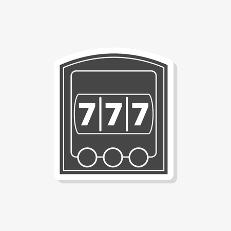 Slot Machine Jackpot sticker, casino concept, simple vector icon Stock Illustratie