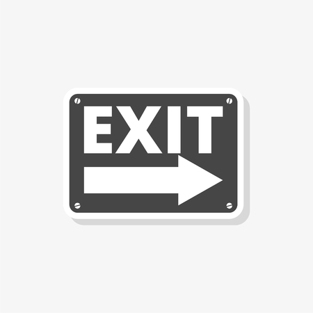 Fire exit sign sticker, Emergency exit, simple vector icon