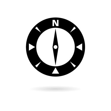 Black north direction compass icon  イラスト・ベクター素材