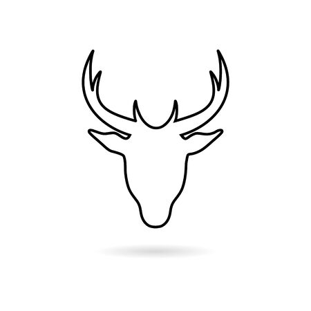 Deer head sticker, simple vector icon