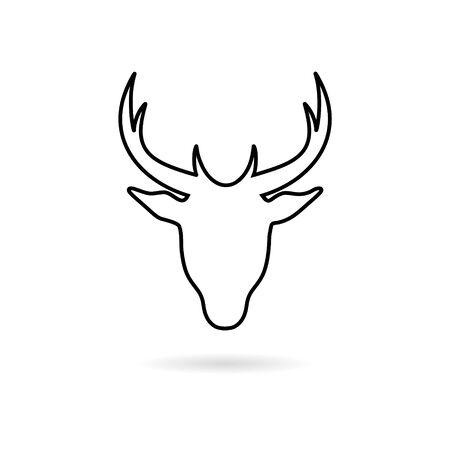 Deer head sticker, simple vector icon