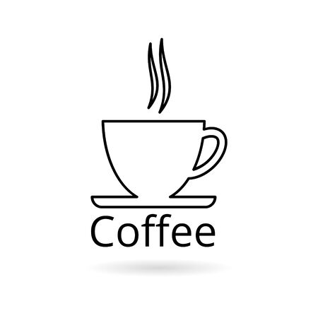Coffee cup sticker, simple vector icon