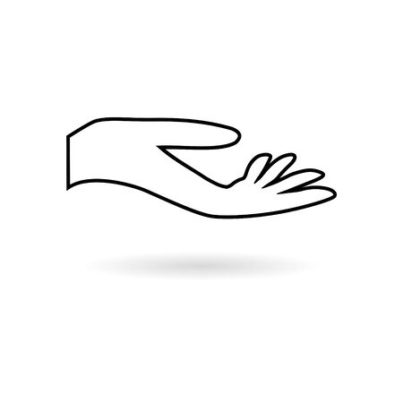 Leaf in hand sticker, Leaf on the hand, simple vector icon