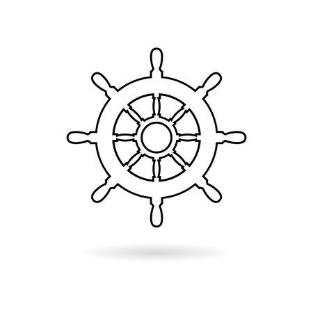Steering wheel of the ship, Ship wheel sticker, simple vector icon