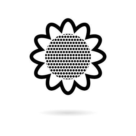 Sunflower symbol sticker, simple vector icon Ilustracja