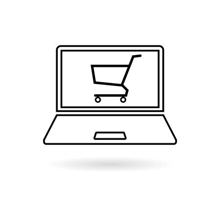 Online shop sign, Online shopping on laptop sticker, simple vector icon