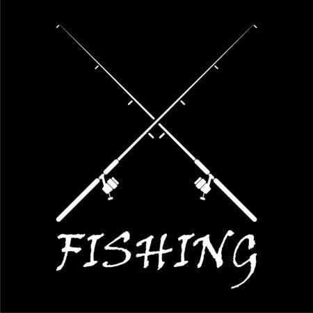 Fishing rod icon on dark background