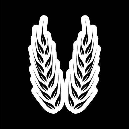Wheat icon, Wheat ears on dark background