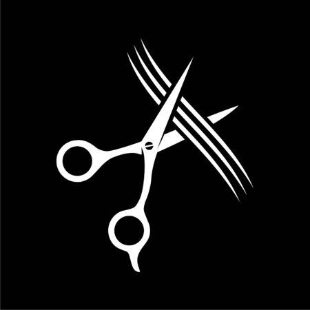 Comb and scissors icon on dark background