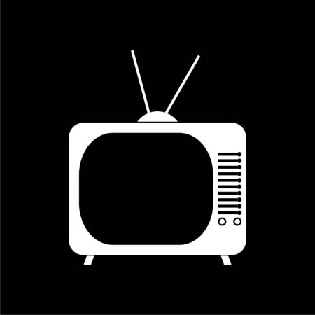 Black Retro TV icon on dark background