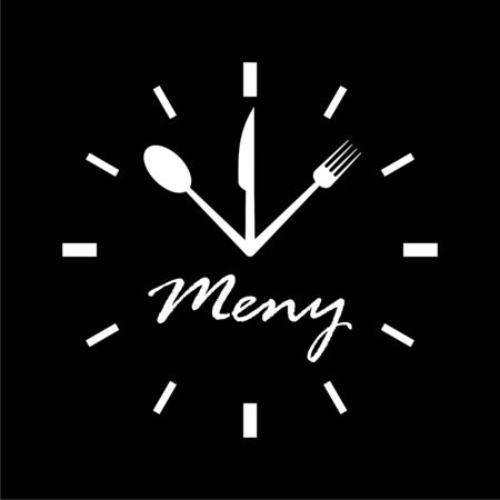 Time For Lunch icon on dark background Illustration