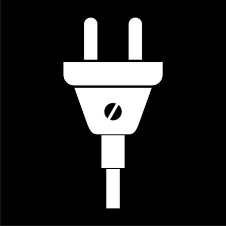 Electric plug sign icon, Power energy symbol on dark background Illustration