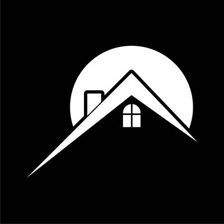 Home roof icon, Real estate symbol on dark background Illustration