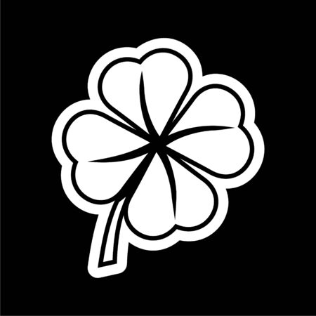 Simple Clover with four leaves icon on dark background