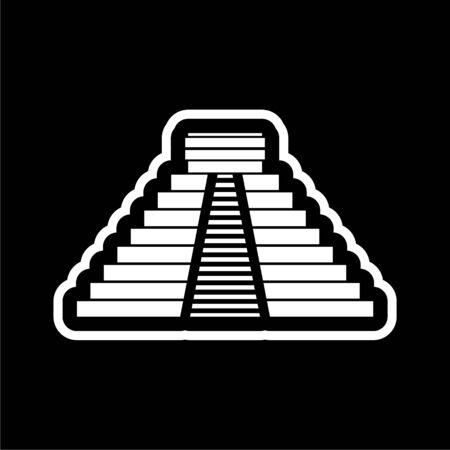 El Castillo pyramid in Chichen Itza flat icon on dark background Illustration