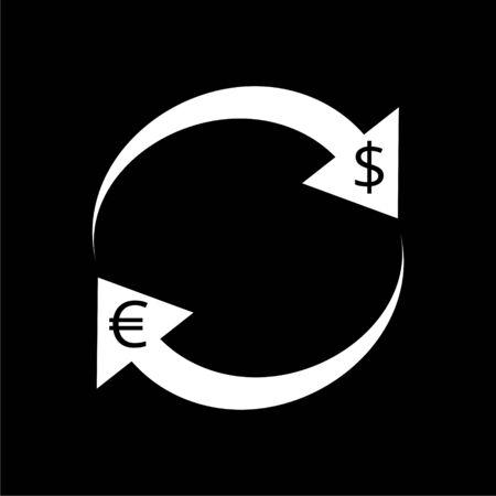 Exchange arrow icon, Reload vector icon on dark background Illustration