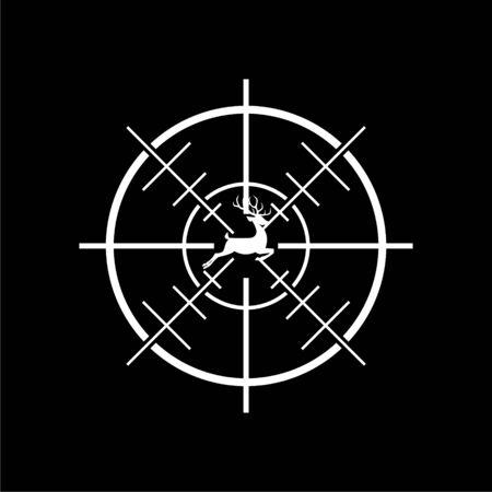 Hunting Season with Deer in gun sight icon on dark background