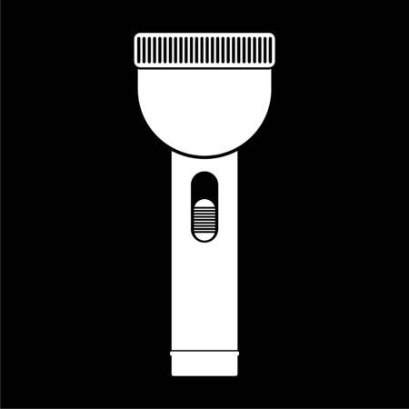 Flashlight icon, light flash on dark background